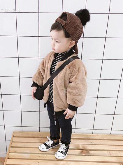 寶寶冬裝男童棉襖外套加絨加厚3歲兒童開衫上衣兩面穿潮【快速出貨】 0