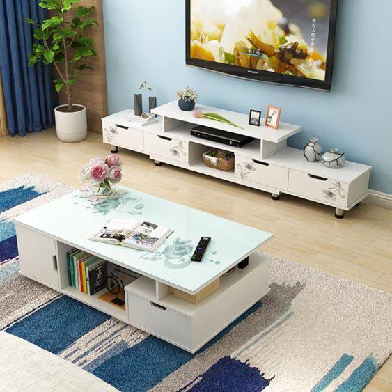 電視櫃 茶幾組合桌現代簡約客廳家用北歐簡易小戶型實木色電視機櫃【快速出貨】 2