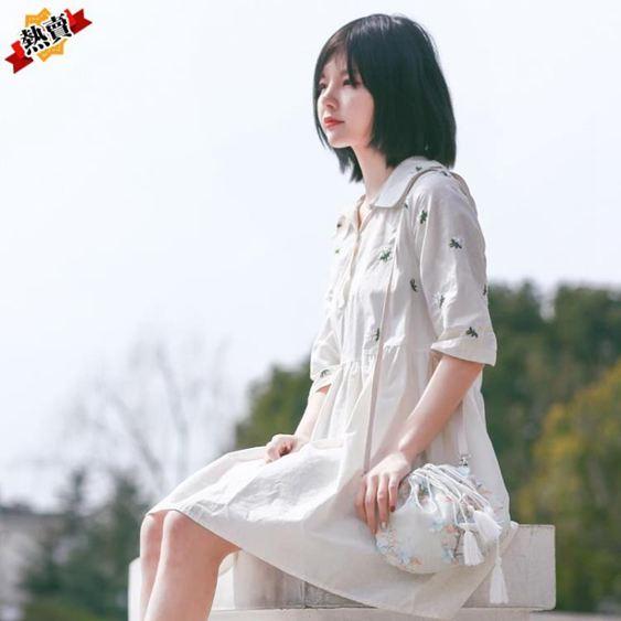 帆布包 包包女2019新款森系小包帆布斜挎包中國風仙女荷包漢服古風單肩包 3