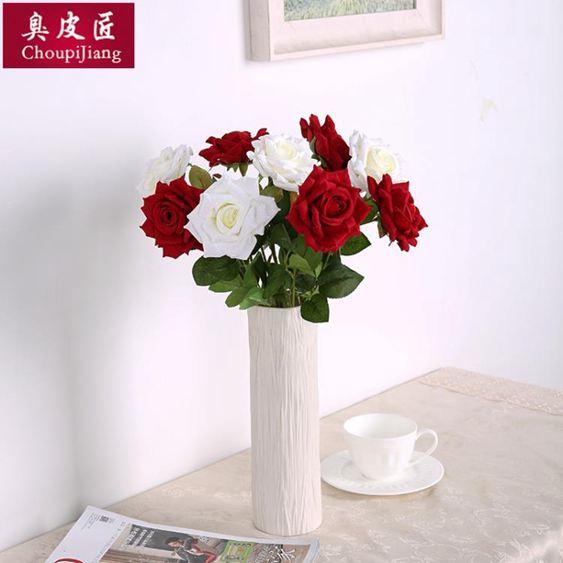 干花仿真玫瑰花套裝花束假花玫瑰花客廳餐桌擺件花藝插花干花擺設裝飾【快速出貨】 1