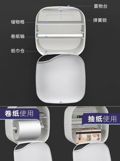 紙巾盒 衛生間紙巾盒廁所衛生紙置物架廁紙盒免打孔防水卷紙筒創意抽紙盒 2