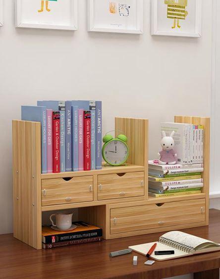 書架 學生桌面收納小架子書柜兒童辦公桌上創意伸縮簡易置物架書桌【快速出貨】 0