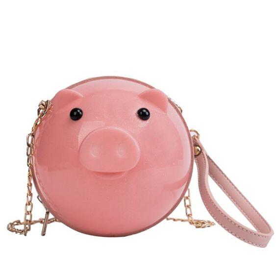 女士背包上新搞怪可愛萌小包包女時尚潮正韓迷你小豬包鏈條斜挎包【快速出貨】 2