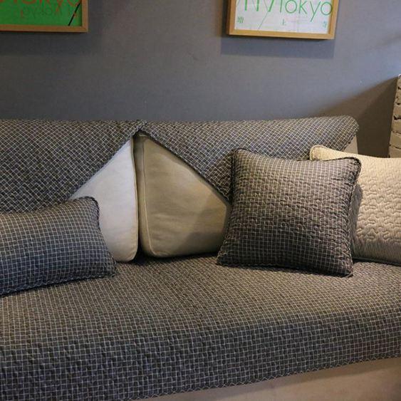 經典北歐時尚全棉沙發墊深色格子耐臟沙發巾防滑布藝沙發套罩定做 【快速出貨】 0