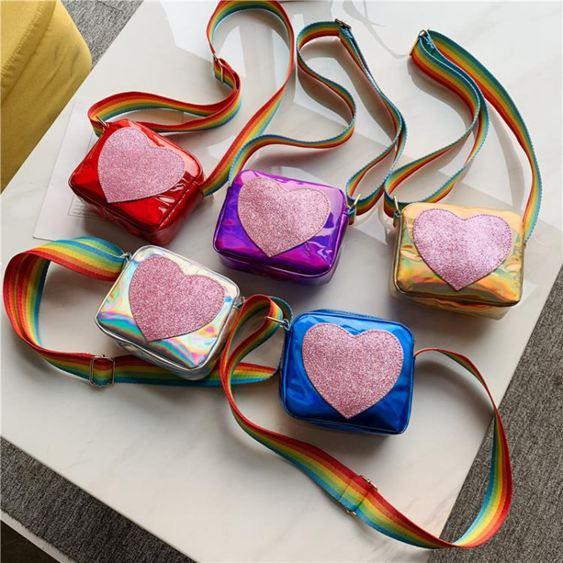 兒童包 女童可愛心形斜挎包2019新款兒童包包洋氣亮片時尚公主迷你小挎包 1