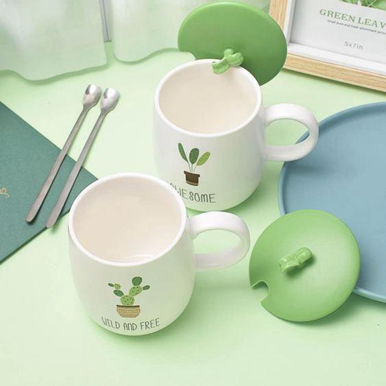 馬克杯 創意個性陶瓷杯子馬克杯帶蓋勺辦公室潮流早餐燕麥咖啡杯家用水杯 1