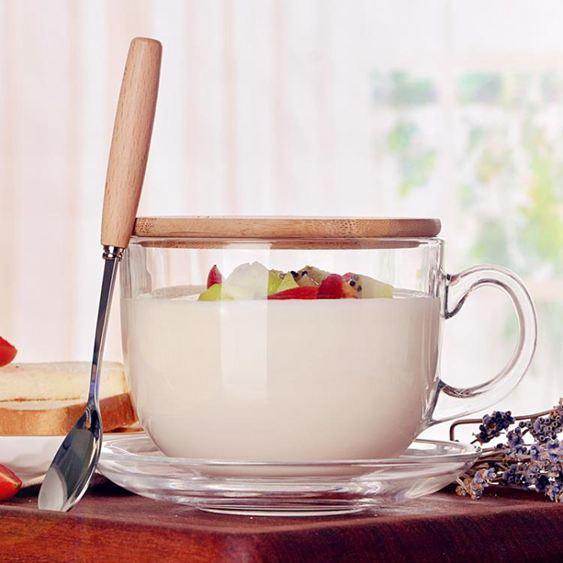 馬克杯 大容量玻璃馬克杯燕麥杯子日式帶蓋勺早餐杯可微波牛奶麥片碗家用 0