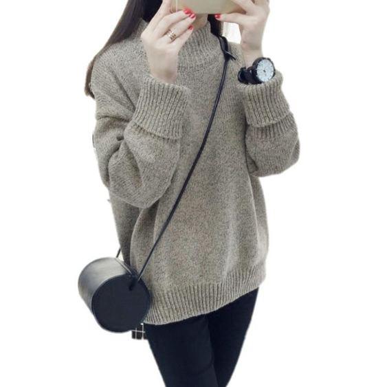 針織外套 加厚半高領正韓學院風毛衣女套頭外套寬鬆秋冬學生線衣【快速出貨】 3