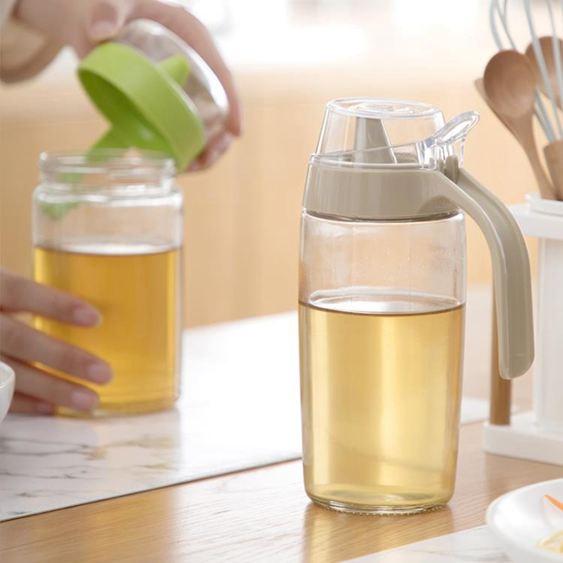 油壺 茶花油壺 防漏玻璃油壺廚房家用塑料油罐醬油瓶醋壺大號小號油瓶 0