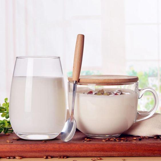 馬克杯 大容量玻璃馬克杯燕麥杯子日式帶蓋勺早餐杯可微波牛奶麥片碗家用 3