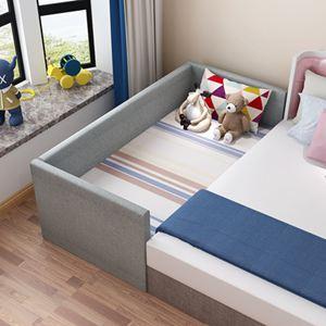 實木兒童床拼接大床男孩加寬床單人兒童床帶床邊床小床女孩【快速出貨】 1