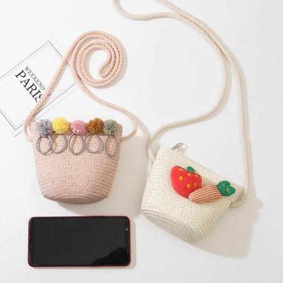 兒童包 新款零錢包兒童草藤包包韓版親子男女童時尚百搭草編斜跨包拉鏈包 2