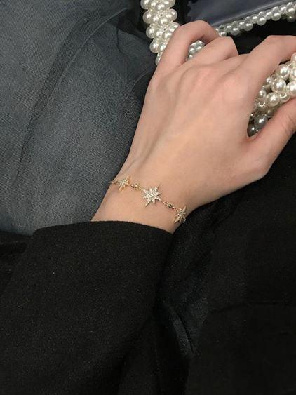 手環 閉眼入精致輕奢八芒星鋯石手鏈女日韓百搭可調節抽拉手鐲手飾S152 0