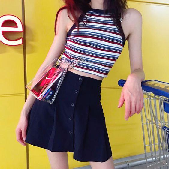 女士百褶裙夏顯瘦半身裙短裙百褶裙【快速出貨】 0