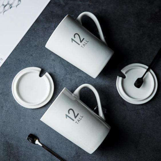 馬克杯 杯子創意個性潮流陶瓷杯帶蓋勺北歐INS大容量喝水杯馬克杯咖啡杯 0
