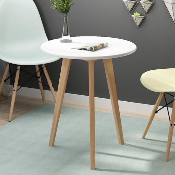 北歐小圓桌簡約迷你臥室現代家用小茶幾實木創意休閒洽談小桌子【快速出貨】 0