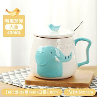 馬克杯 可愛陶瓷杯子女帶蓋勺馬克杯創意個性潮流水杯家用牛奶早餐咖啡杯 3