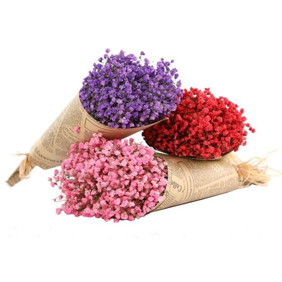 滿天星干花風干花束真花裝飾家居擺設永生花小清新插花搭配花【快速出貨】 2