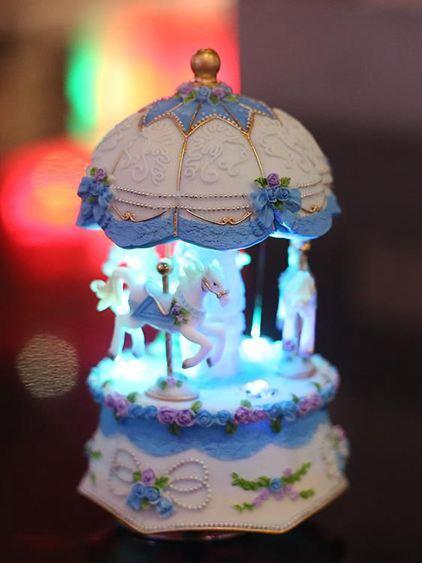音樂盒 帶燈發光旋轉木馬音樂盒八音盒擺件創意生日禮物送兒童女生閨蜜 3