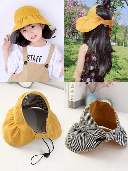 兒童帽 空頂帽子女童夏新款防曬遮陽帽折疊INS大檐沙灘帽出游太陽帽 0