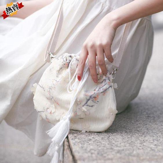 帆布包 包包女2019新款森系小包帆布斜挎包中國風仙女荷包漢服古風單肩包 1