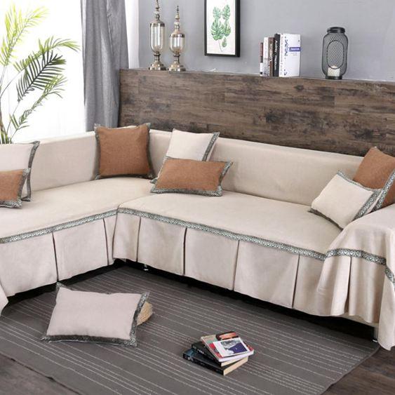 素色沙發罩 現代簡約全包沙發巾墊全鋪蓋布藝沙發套單雙三人組合 【快速出貨】 2