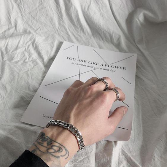 手環 SAZ 2019新款ins網紅簡約冷淡風情侶飾品純色鏈條鈦鋼寬手鏈男女 1