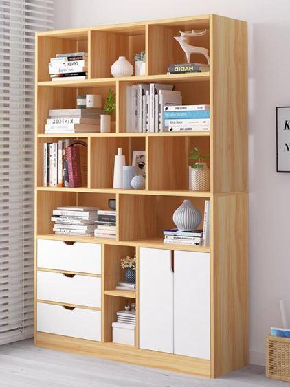 書架 書柜簡約落地置物架客廳儲物臥室收納學生家用簡易帶門小柜子【快速出貨】 1