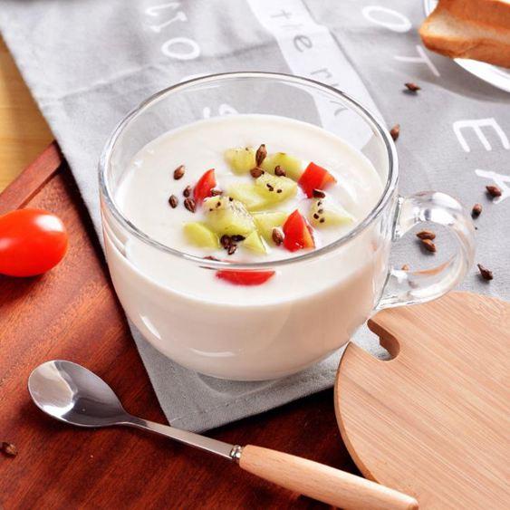 馬克杯 大容量玻璃馬克杯燕麥杯子日式帶蓋勺早餐杯可微波牛奶麥片碗家用 2