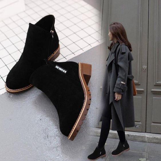 加絨加厚短靴女正韓平跟棉靴女冬季復古學生馬丁靴女【快速出貨】 2
