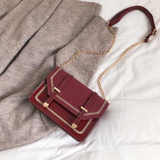 鍊條包 斜背包包包女2019新品磨砂鍊條小方包百搭漆皮單肩斜挎包【快速出貨】 0