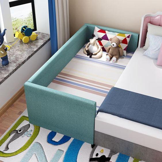 實木兒童床拼接大床男孩加寬床單人兒童床帶床邊床小床女孩【快速出貨】 0