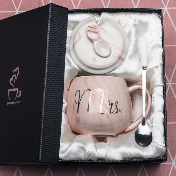 馬克杯 創意馬克杯帶蓋勺潮流個性杯子女陶瓷INS北歐水杯家用牛奶咖啡杯 0