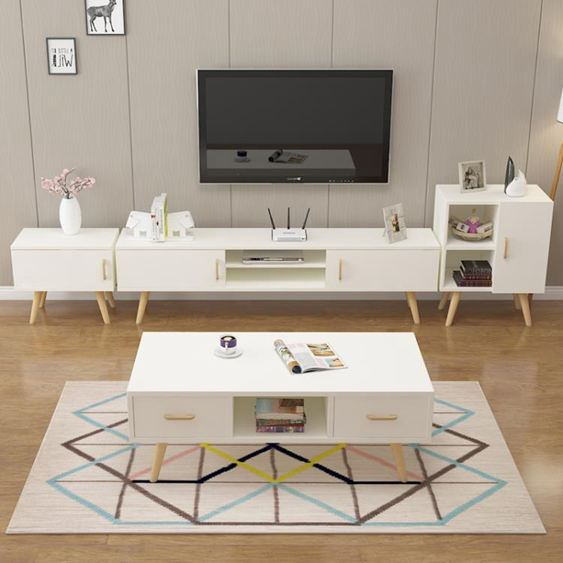 電視櫃 北歐電視櫃茶幾組合現代簡約小戶型客廳套裝電視機櫃臥室簡易地櫃【快速出貨】 0
