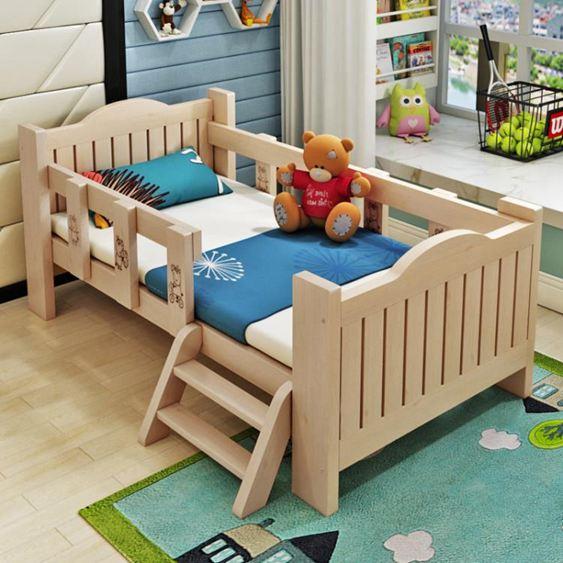兒童床 實木兒童床帶小床男孩女孩公主床單人床邊床加寬拼接大床【快速出貨】 1