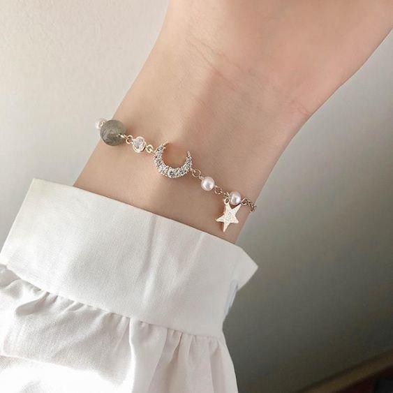 手環 星星月亮手鏈女韓版冷淡學生個性簡約風水晶珍珠網紅潮漸凍人手飾 3
