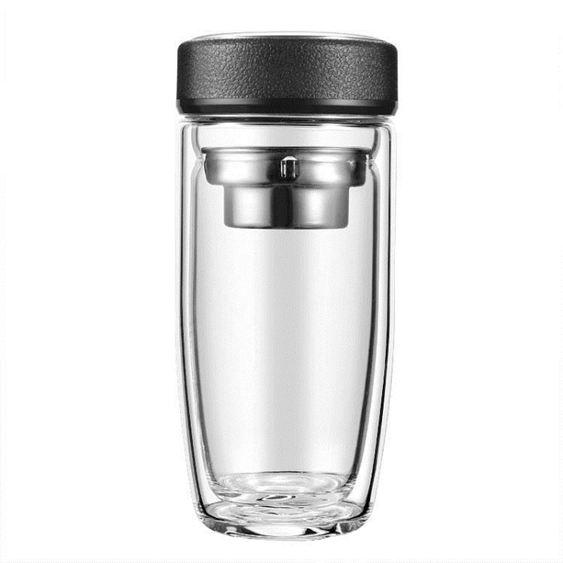 水杯 夏季雙層玻璃男商務過濾水杯泡茶杯便攜加厚透明喝水杯子 1