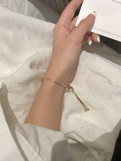 手環 閉眼入精致輕奢八芒星鋯石手鏈女日韓百搭可調節抽拉手鐲手飾S152 2