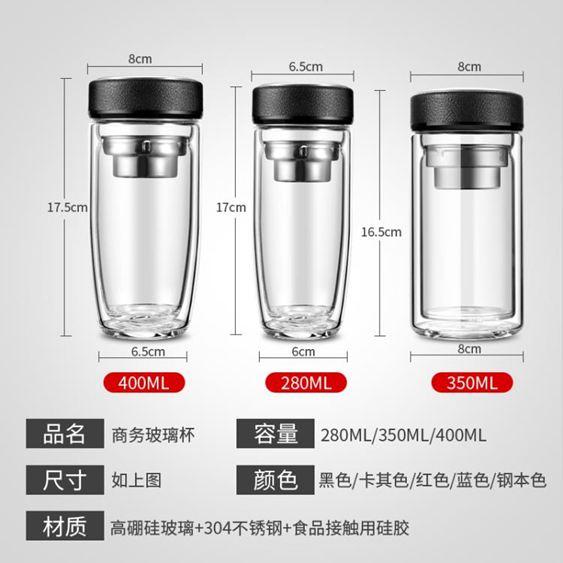 水杯 夏季雙層玻璃男商務過濾水杯泡茶杯便攜加厚透明喝水杯子 2