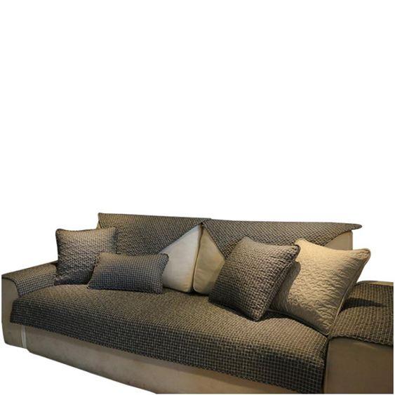 經典北歐時尚全棉沙發墊深色格子耐臟沙發巾防滑布藝沙發套罩定做 【快速出貨】 5