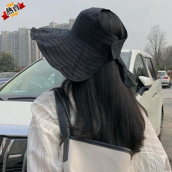 帽子 女韓版夏季百搭遮陽帽可折疊漁夫帽大檐防曬太陽帽防紫外線潮 2