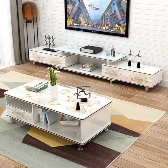 電視櫃 茶幾組合小戶型現代簡約客廳家具套裝鋼化玻璃電視機櫃地櫃【快速出貨】 0