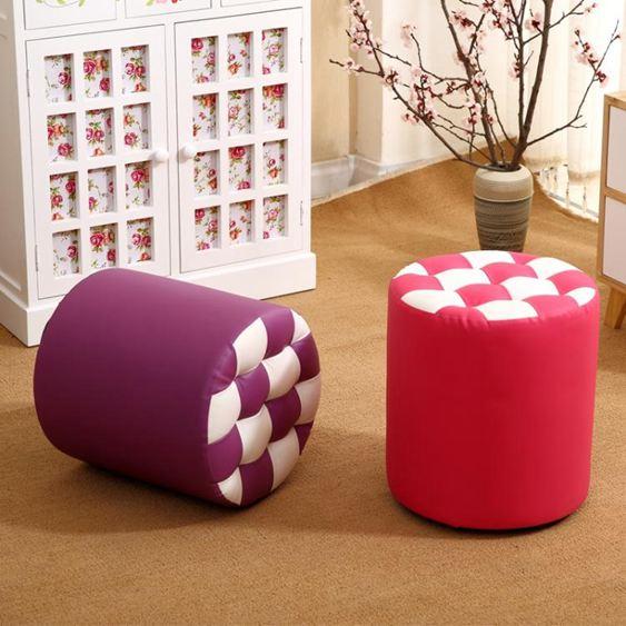 凳子 家用時尚圓凳子小板凳創意皮凳沙發凳成人軟凳矮凳實木皮墩 2
