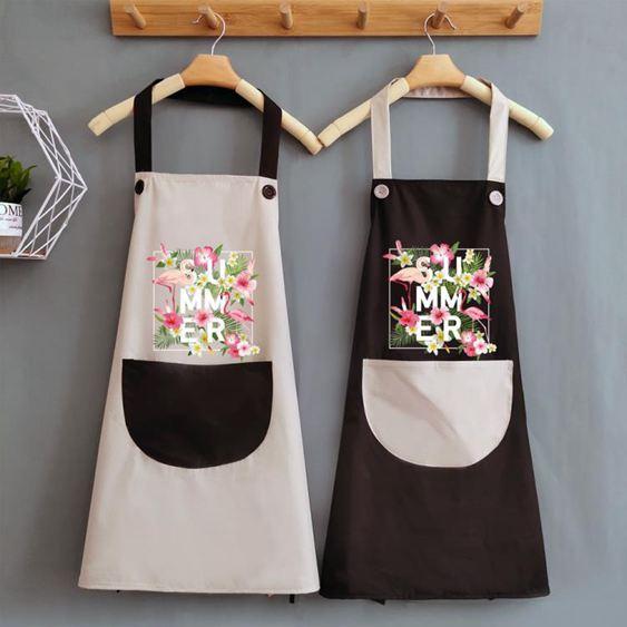 圍裙 夏天可愛做飯女圍裙家用廚房防水防油日系大人工作圍腰圍布定 1