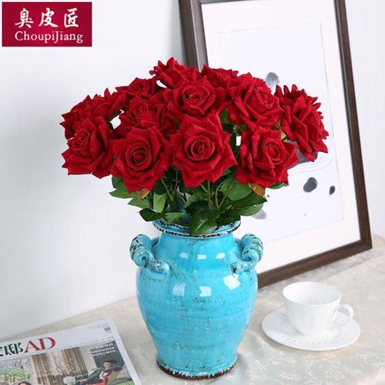 干花仿真玫瑰花套裝花束假花玫瑰花客廳餐桌擺件花藝插花干花擺設裝飾【快速出貨】 2