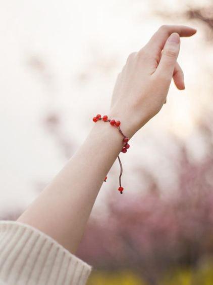 手環 古風招桃花轉運紅繩森系紅瑪瑙手鏈女簡約學生小眾設計冷淡防小人 0