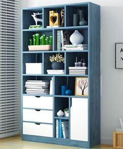 書架 書柜簡約落地置物架客廳儲物臥室收納學生家用簡易帶門小柜子【快速出貨】 2