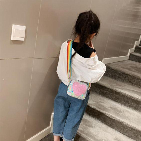 兒童包 女童可愛心形斜挎包2019新款兒童包包洋氣亮片時尚公主迷你小挎包 0