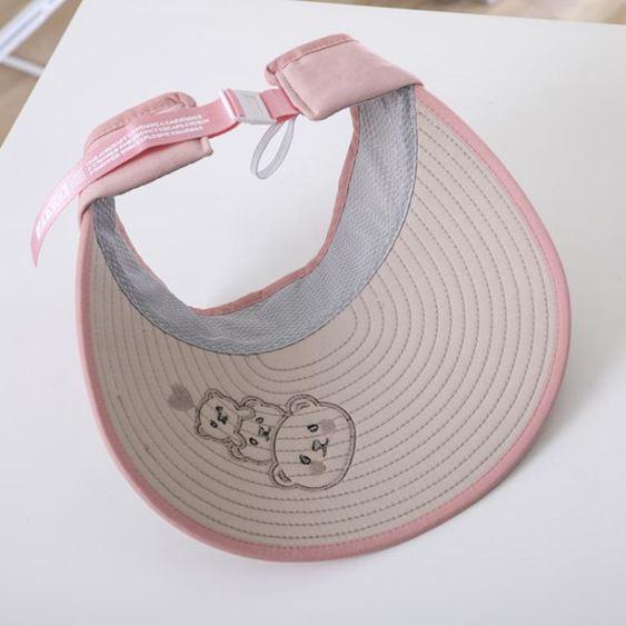 兒童帽 夏季兒童大檐空頂帽男女童無頂潮防曬中童大童小孩遮陽帽子寶寶 3