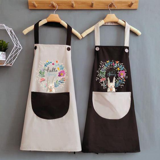 圍裙 夏天可愛做飯女圍裙家用廚房防水防油日系大人工作圍腰圍布定 0